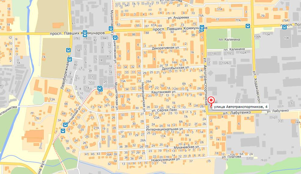 Схема проезда в городе Донецк: